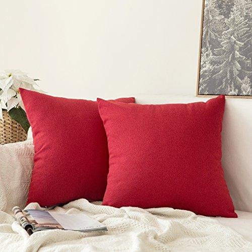 Miulee 2er Pack Home Dekorative Leinen-Optik Kissenbezug Kissenhülle Kissenbezüge für Sofa Schlafzimmer Auto mit Reißverschlüsse 45x45 cm Rot (Schlafzimmer Sofa)