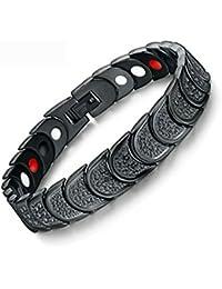 Impression Health Care Bio Magnet Bio Double Tone Plating Metal Chain Bracelet Charm Bracelet for Men and Woman's/Girls (Black)