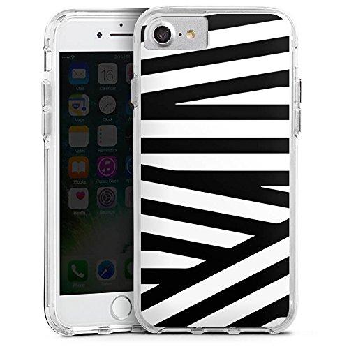 Apple iPhone 7 Plus Bumper Hülle Bumper Case Glitzer Hülle Linien Lines Pattern Bumper Case transparent