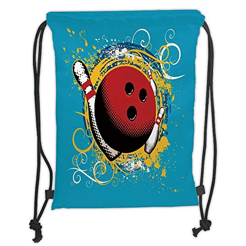 Trsdshorts Bowling Party Decorations,Fun Hobby Retro Ball Floral Swirls Color Splashes Pop Art,Blue Red Yellow Soft Satin,5 Liter Capacity,Adjustable String Closure,