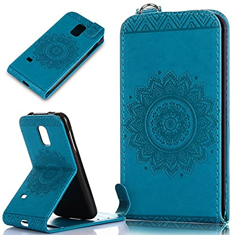 Galaxy S5 Mini Case,Galaxy S5 Mini Cover,ikasus Embossing Lace Floral Mandala Flower Pattern Premium PU Leather Fold Wallet Pouch Case Wallet Flip Cover Bookstyle Magnetic Closure with Card Slots & Stand Function Protective Case Cover for Samsung Galaxy S5 Mini,Blue
