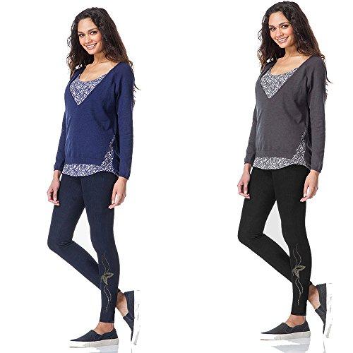 Leggings 2pz nero e blu in cotone senza cuciture effetto jeans con strass 075
