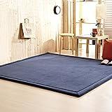WJS Europa Stil Teppich Luxus Große Wohnzimmer Teppiche Kinder Schlafzimmer Nachttisch Fußmatten Kinder Krabbeln Matte 200 * 200 cm (Farbe : Dunkelblau)