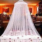 Zanzariera per letto, tenda a cupola contro insetti e moscerini, in cotone, bianca, da usare come decorazione per stanza dei bambini o per il gioco e la lettura