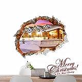 Bomeautify Wandtattoos Wandbilder 3D 3D Zeichnung Wohnzimmer Schlafzimmer Kinderzimmer Cartoon Anime Dekorative Malerei Weihnachtsnacht Heiligabend Geschenk (58 * 73,9 cm)