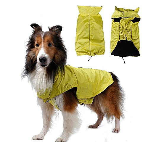 SUPEREX Waterproof pet Dog Coat Jacket costume,Inner Fleece,Magic Stick Closure Outdoor Clothes Apparel Winter Warm for small medium large dogs