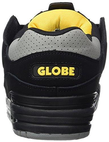 Globe - Fusion, Pantofole Uomo Schwarz (Black/Grey/Yellow)
