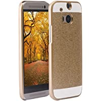 One M8 cover PC, per HTC One M8 Custodia in policarbonato rigida hard case transparente bling brillanti morbile crystal caso protezione back shell posteriore per HTC One M8, Oro