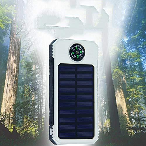 CONRAL 10000mAh Energienbank-Solarladegerät, tragbares im Freien externes Batterie-USB-Ladegerät gebaut im 2 LED-Licht mit Kompass für iPad iPhone Android-Handys,White