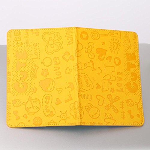 Salida Últimas Colecciones Asombroso Longra Solido colore moda donne artificiali in pelle cartoni passaporto titolare documento di viaggio copertura di protezione Giallo InKo6tix