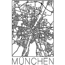 München Karte Schwarz Weiß.Suchergebnis Auf Amazon De Für Leinwandbilder Mehrteilig Schwarz