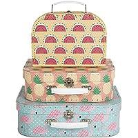Preisvergleich für Koffer Kofferset Tropical Summer Flamingo Ananas Melone