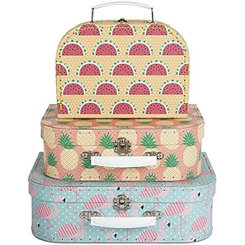 Juego de 3cajas de almacenamiento Maleta Pink Flamingo Tropical