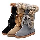 Oaleen Bottes fourrées femme hiver à lacets suède chaussures bottines de neige plate (Commendez une taille en dessus !!!)