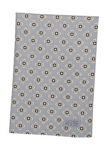Ochre and Ocre Organic Cotton Tea Towel Garden Ochre Grey
