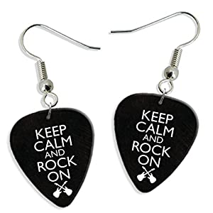 Keep Calm And Rock On 2 X Gitarre Plektrum Pick Ohrringe Earrings (GD)