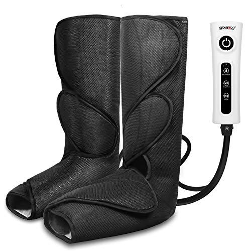 CINCOM Beinmassagegerät für Fußwaden-Luftkompression Beinwickel mit tragbarem Handbediengerät 2 Modi & 3 Intensitäten - Schwarz -
