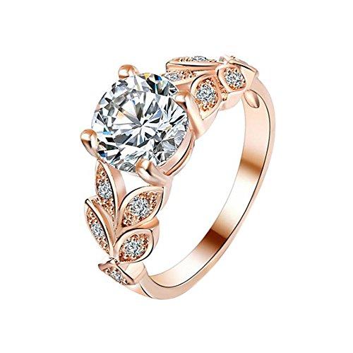 Treestar fashion erba anello a foglia con anello da uomo e da donna favorite romantico cristallo anello migliore regalo per fidanzata signora elegante gioielli anello 1pcs standard 9(oro rosa)