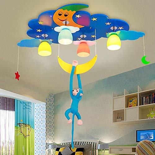 ZXL Mount LED Augenschutz Kinderlichter Baby Schlafzimmer Lichter Junge Kreative Cartoon Kinderzimmer Deckenlampe mit Einer Affenbirne inklusive (Farbe: Blau-Fernbedienung-5W LED) -