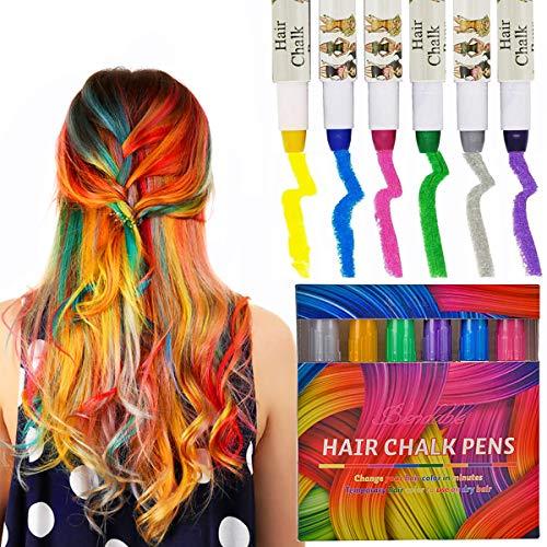 Kyerivs Haarkreide Metallische Einweg Sofort Haarfärbekreiden Set für Kinder Haare färben Party und Cosplay DIY, funktioniert auf allen Haar Farben, 6 Metallic Glitzer & Farbige Stifte