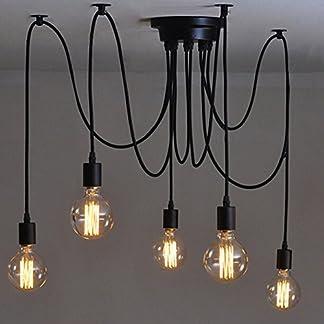 Lampada a Sospensione Vintage Edison Soffitto Apparecchio a Sospensione E27 Industrial Light Lampada Nero Regolabile Lampadario