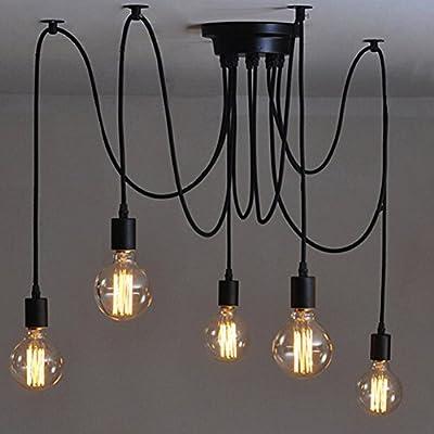 5-testa Lampada a Sospensione Vintage Edison Soffitto Apparecchio a Sospensione E27 Industrial Light Lampada Nero Regolabile Lampadario
