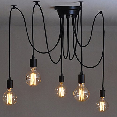 Pendelleuchte Retro Industry Ceiling Light 5 Head Spider Chandelier Deckenleuchte Spinne Kronleuchter Adjustable DIY Leuchter 5 Lichter Spider Chandelier DIY Lampe for Esssaal Restaurant Cafe Bar