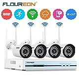 Système de sécurité sans fil Floureon Système de caméras de vidéosurveillance 4canaux NVR 720p/960p PAL Caméras IP , blanc, 00401