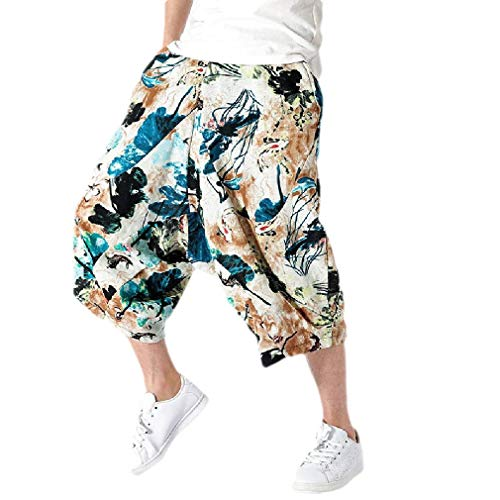 CuteRose Mens Simple Big and Tall Print Ethnic Style Capri Pant Casual Pants 1 L Relaxed Fit Pleated Chino-hose