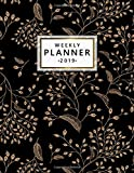 Weekly Planner 2019: Black and gold oriental floral 2019 planner and organizer with weekly views, inspirational quotes, to-do lists, yearly overviews, funny holidays and more.