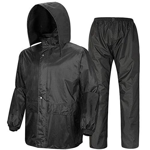 HGXC WY Set Regenmantel, Männer und Frauen Outdoor-Oxford-Stoff Doppel-Regenmantel REIT Reisen schwarz draussen