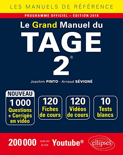 Le Grand Manuel du TAGE 2® - 120 fiches de cours, 10 tests blancs, 1000 questions + corrigés en vidéo - édition 2018