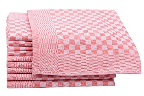 ZOLLNER 10er-Set Geschirrtücher, Vollzwirn, 100% Baumwolle, 46x70 cm, rot (Rot Geschirrtuch)