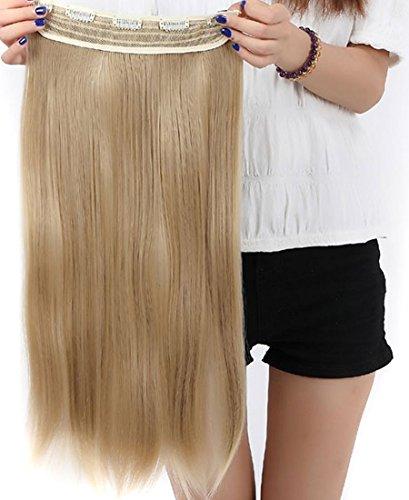 S-noilite® Clip in Extensions Halbperücke Haarverlängerung Haarverdichtung Haarteil 3/4 Perücke Glatt One Piece (58cm,Graublond)