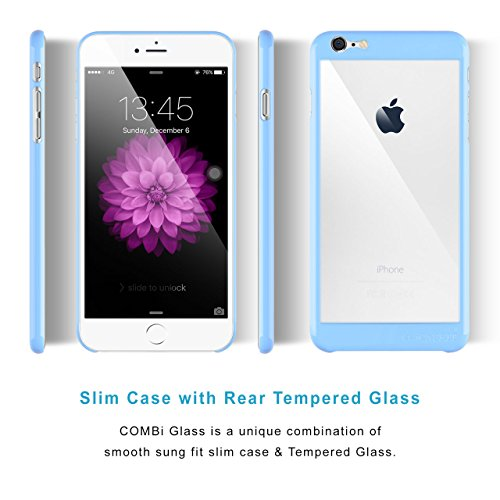 Coque iPhone 6 Plus / 6s Plus Case | iCASEIT COMBi Glass | Slim case with Strengthened Glass back | Only 0.8mm in Thickness | Exact-Fit with Premium Finish | Fits iPhone 6 Plus & 6s Plus | SILVER BABY BLUE
