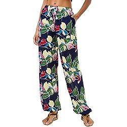 Urban GoCo Mujeres Casual Pantalones Harem Boho de Impreso Cintura de Cordón Pantalón (Small, 12)