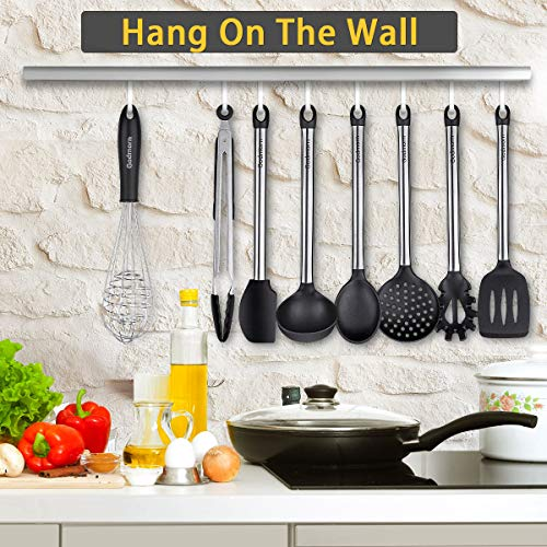 Godmorn Set di Utensili da Cucina in Silicone, 9 Pezzi Pentole in Silicone con Manico in Acciaio Inox, Antiaderente AntiGraffio Cucinando Utensils per Pentole, Frullino per Le Uova, ECC - 7