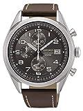 Seiko Herren Chronograph Quarz Uhr mit Leder Armband SSB275P1