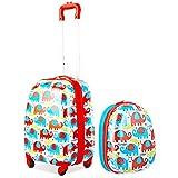 GOPLUS Kinderkoffer 2 TLG. mit Rucksack Kinder Reisekoffer Set Kinder Trolly Kinder Gepäck (Bunte Elefanten)