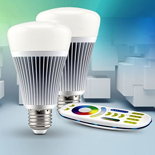 LIGHTEU®, 2x 8W E27 Nuevo diseño inalámbrico E27 8W 2.4G RF control remoto RGBW + CCT Bombillas LED con control remoto de 4 zonas