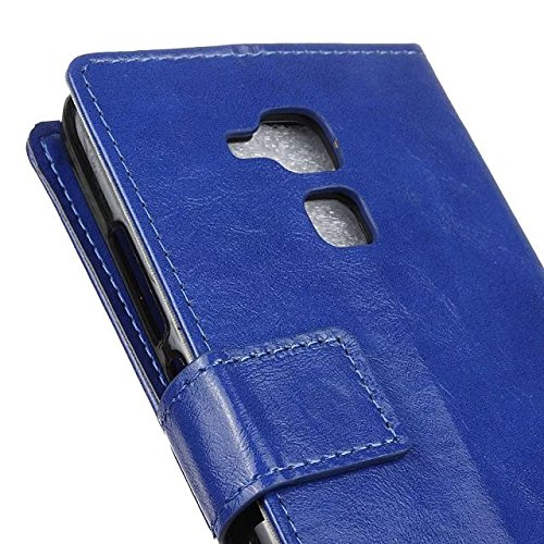 Verrückte Pferd Texture Pattern synthetische PU-Leder Fall horizontale Flip-Ständer Case Wallet Fall Deckung Solid Color Case für Huawei Honor 5C ( Color : Red , Size : Huawei Honor 5C ) Blue