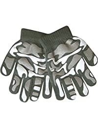 Boy's Camouflage Fine Knit Thermal Gloves with Magic Gripper Palm