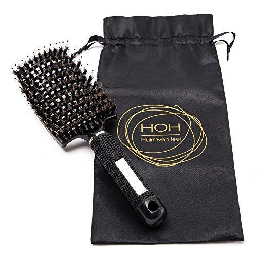 Weiche Wildschwein-borsten Haarbürste - Volumen gebende Entknotungs-bürste mit Entwirrungs-pins. Schmerzloser Haarentwirrer für lange, feine, dicke, lockige Haare & Haarverlängerungen. Detangler