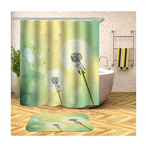 ANAZOZ Duschvorhang+Badematte Set Wasserdicht Waschbar Badewanne Vorhänge Anti-Schimmel Polyester Löwenzahn Badzimmer Teppich Bunt 180X180CM A384