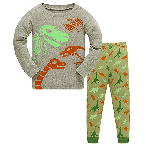 Jungen 3 Stück Pyjama Set (HIKIDS Jungen Schlafanzug Fluoreszenz Dinosaurier Herbst Winter Pyjamas Set Kinder Dino Langarm Nachtwäsche 2 Stücke Bekleidung 104)