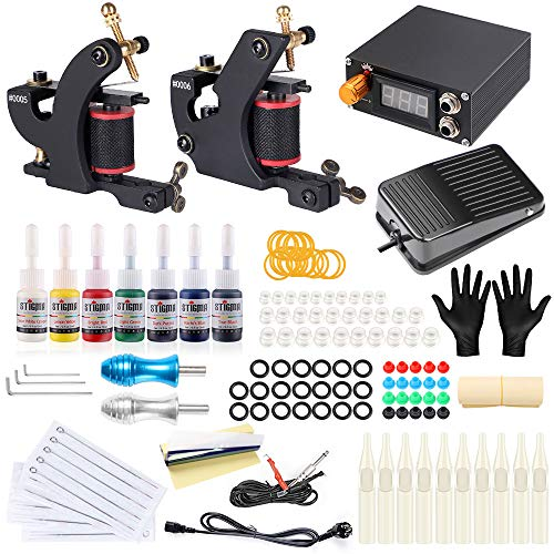 40507955bb233 Professional Complete Tattoo Machine Kits 7 Inks Foot Pedal 2PRO Coil  Machine for sharder