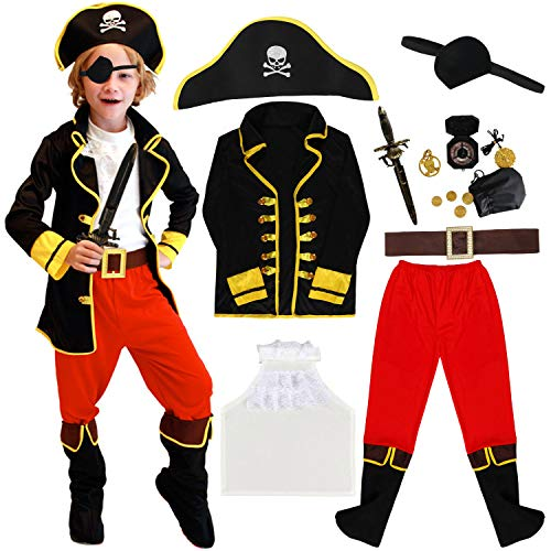 Tacobear Pirate Costume Enfant Déguisement Pirate Accessoires Pirate Cache-Oeil Dague Compass Bourse Boucle d'oreille Or Medasie Enfant Pirate Halloween Costume (L (7-9 ans))