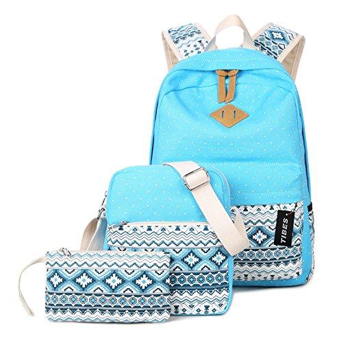 Tibes leichte 3pcs Damen Rucksack Schulrucksack Wasser-Blau
