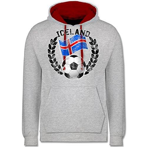 Fußball-WM 2018 - Russland - Iceland Flagge & Fußball Vintage - Kontrast Hoodie Grau Meliert/Rot