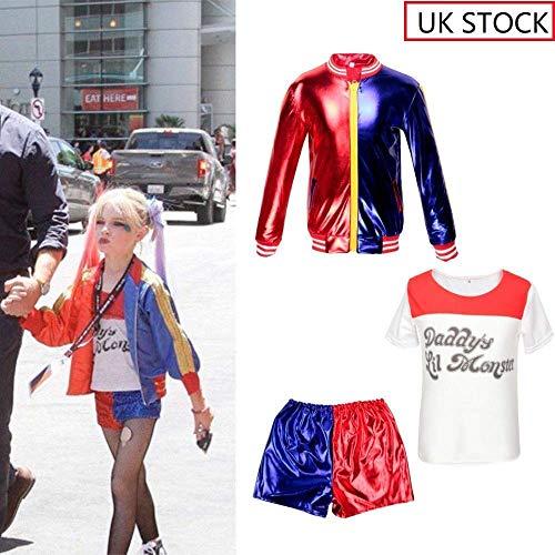 Mädchen verkleiden Harley Quinn 3 in 1 Set - Cosplay 3 Stück Jacke + T-Shirt + Shorts Produkte Halloween-Kostüm - Neue Harley Quinn Kostüm